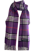 New Winter Womens Mens 100% Cashmere Wool Wrap Scarf Plaid Scarves Purple (#05)