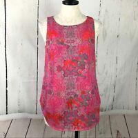 Cabi 127 Jubilee Pink Paisley Print Sleeveless Tunic Top Women Sz S