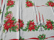 "Christmas Tablecloth Vintage Cotton Candles Poinsettia Holly Holiday 61"" x 55"""