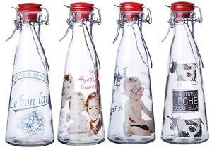 Set of 12 Glass Milk Bottles Swing Top Clip Top Lid  Vintage Bottle 500ml