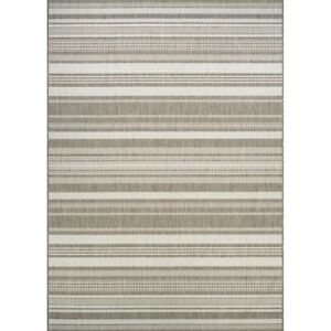 """Couristan Recife Gazebo Stripe Champagne & Taupe In/Out Rug, 2'3""""x7'10"""" Rn"""