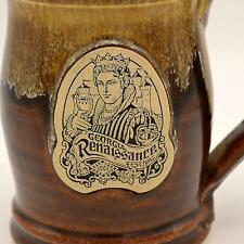 2003 Georgia Renaissance Festival Grey Fox Pottery Mug Stein Tall Brown Drip EUC