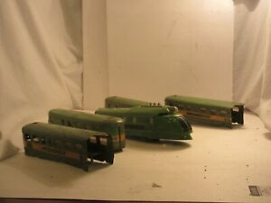 American Flyer Prewar Illinois Central O Gauge Green Streamlined Passenger Train