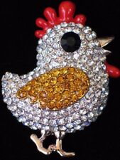 EASTER EGG ANIMAL DUCK GAMECOCK ROOSTER BABY CHICK CHICKEN HEN BIRD PIN BROOCH