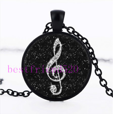 Black Diamond musical note Cabochon Glass Black Chain Pendant Necklace#A404