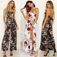 Women's Floral Evening Bandeau Party Sleeveless Knotted Playsuit Wide Leg Pants
