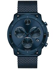 Movado Bold SWISS Chronograph Blue Ion Plated Mesh Bracelet Men's Watch 3600403