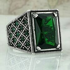 925 Sterling Silver Men Ring Green Emerald Gemstone Handmade Ottoman Style