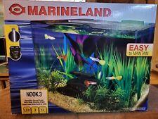 Nook Marineland Aquarium Kit 3 Gallon Curved Tank Led Lights System Pump Filter