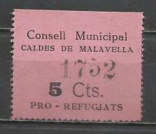 5324-SELLO GUERRA CIVIL REFUGIADOS CALDES MALAVELLA 5 CENTIMOS,POLITICAL LABELS