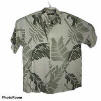 Cubavera Retro Greens  Lounge Cuban Hawaiian Short Sleeve Camp Shirt Men's Lg
