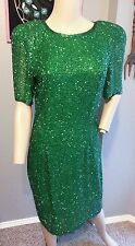 Vtg Blacktie Oleg Cassini St. Patricks Day Green Beaded Trophy Drag Dress 8