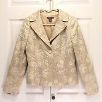 Ann Taylor Beige Brocade Jacket Size 2 Womens Textured Blazer Career Formal Euc