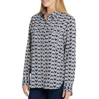 TOMMY HILFIGER Women's Navy Core Printed Roll-tab Button Down Shirt Top TEDO