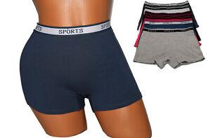 6 Womens Sports Cotton Boxer Shorts BoyShorts Yoga Fitness Gym Lot #PP648 S~5XL