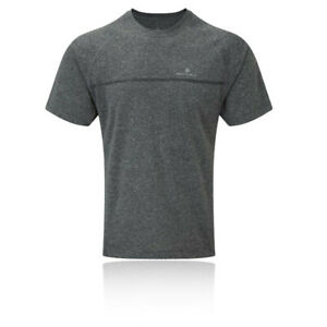 RonHill Mens Everyday Short Sleeve Running T Shirt Tee Top - Grey Sports