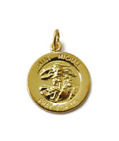 Sterling Silver 0.925 Gold Plated Saint St Michael Medal Necklace Pendant Charm
