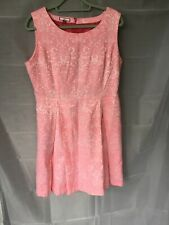 New Joe Browns Pink Dress With Floral Stitched Detail Size 16