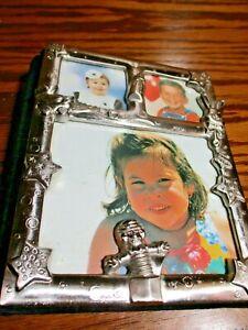 "Baby Keepsake Photo Album Holds 100 4x6"" Photos Silver Frame w/Black Velvet  C12"