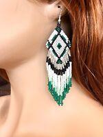 NEW WOMEN HANDMADE BLACK GREEN WHITE BEADED EARRINGS E16/3