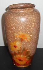 "ART DECO 30's CLASSIC WILTON Vase ENGLAND Speckled Tan+Orange Yellow Green 12"" T"