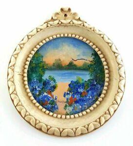 Littleton Miniature Original oil painting  Circular Lake Trees Flowers Landscape