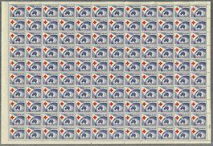 Australia 1954 3½d Red Cross Full Sheet/120 Stamps 2 Plate Dots SG276 MUH 8-3