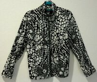 Zenergy by Chico's Women 1 Thin Shell Excersize Jacket Cadet Collar black white