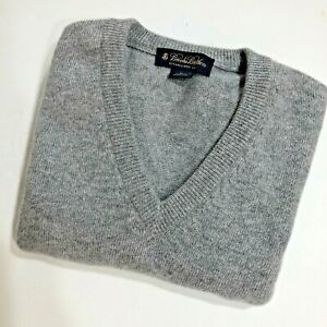 Brooks Brothers Cashmere V Neck Sweater M  Gray Grey 43 Chest Men's Heather