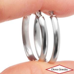 Estate 14K Gold Small Oval Shaped Hoop Earrings NR