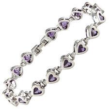 Heart Purple Amethyst Zirconia CZ Bracelet White Gold Filled Gift 7 1/4''