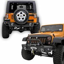 "Front Bumper+Rear Bumper+2"" Hitch+OE Fog light Hole For 07-17 Jeep JK Wrangler"
