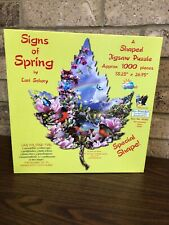 SunsOut Signs Of Spring LEAF Shaped Jigsaw Puzzle 1000 Pc *Complete*