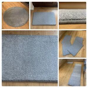 Plain Light Grey Rug Saxony Pile High Quality Runner Rectangle Circles Mats