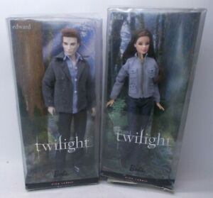Lot of 2 Twilight Bella Doll Edward Doll Barbie Collector Pink Label 2009