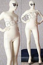 100% Latex Rubber Gummi Catsuit Suit Clothing Bodysuit Zentai Unitard White Hot