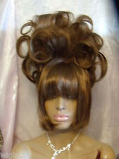 VEGAS WIGS CORONATION UPDO BIG SOFT CURLS PILED HIGH STRAIGHT SLEEK SMOOTH BANGS