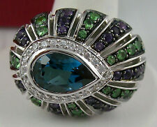 Yours by Loren 5.04ct Multigemstone Sterling Silver Peacock Ring - Size 8
