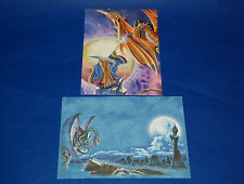 "#60002 WIZARD AND DRAGON 5"" X 7"" BLANK GREETING CARDS AND ENVELOPES PACK OF FOUR"
