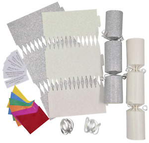 12 Make Your Own Christmas Cracker kit Crackers Hats Snaps SILVER & WHITE