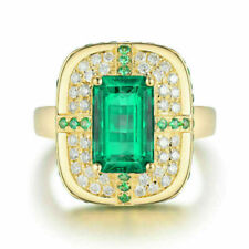 4.50Ct Emerald Green Emerald Diamond Halo Engagement Ring 14K Yellow Gold Finish