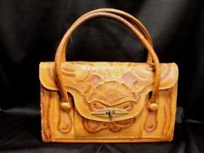 Vintage HAND TOOLED LEATHER PURSE Mexico HANDBAG compartments