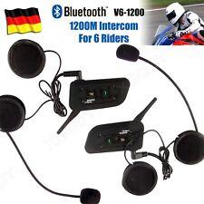 2x 1200m Motorrad Helm Sprechanlage Gegensprechanlage Intercom 6Rider Speaker DE