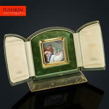 More details for antique 19thc swiss 18k gold & enamel plaque icon, retailed by bulgari c.1820