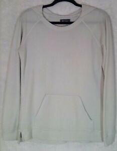 IBEX Women's Medium Hooded Pullover Waffle Top Lightweight Merino Wool Off White