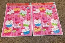 Valentines Day Cupcakes Decorations: Reusable Window Clings  2 Sheets