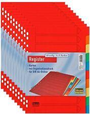Kartonregister DIN A 4 10-teilig 2 x 5 Farben Registereinlagen Trennblätter
