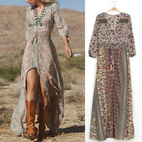 Women's Bohemian Floral Printed Dress Split Long Maxi  Loose Beach Sundress@