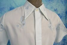 ViNTAGE 60s GEOMETRiC PAiSLEY EMBROiDERED HAWAiiAN CiGAR CAMP WEDDiNG SHiRT M/L
