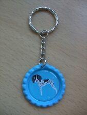 Handmade Pointer Dog Keyring Bottle Cap Puppy Bag Charm Blue German Shorthaired